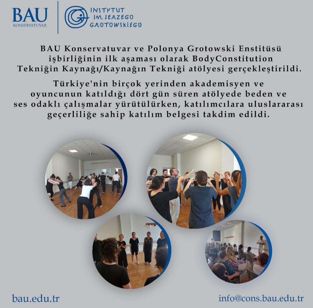 BAU Konservatuvar ve Polonya Grotowski Enstitüsü İşbirliğindeki Atölye Çalışması Gerçekleşti